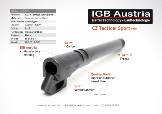 CZ Tactical Sport 9mm - IGB Polygon-Gewindelauf